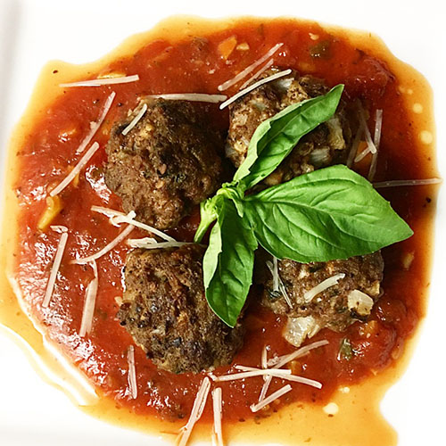 Basil Mushroom Grass-fed Ground Beef Meatballs