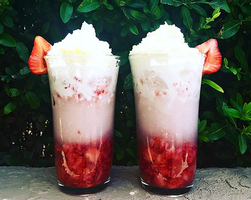Fresh Fruit on the Bottom Strawberry Coconut Italian Cream Soda